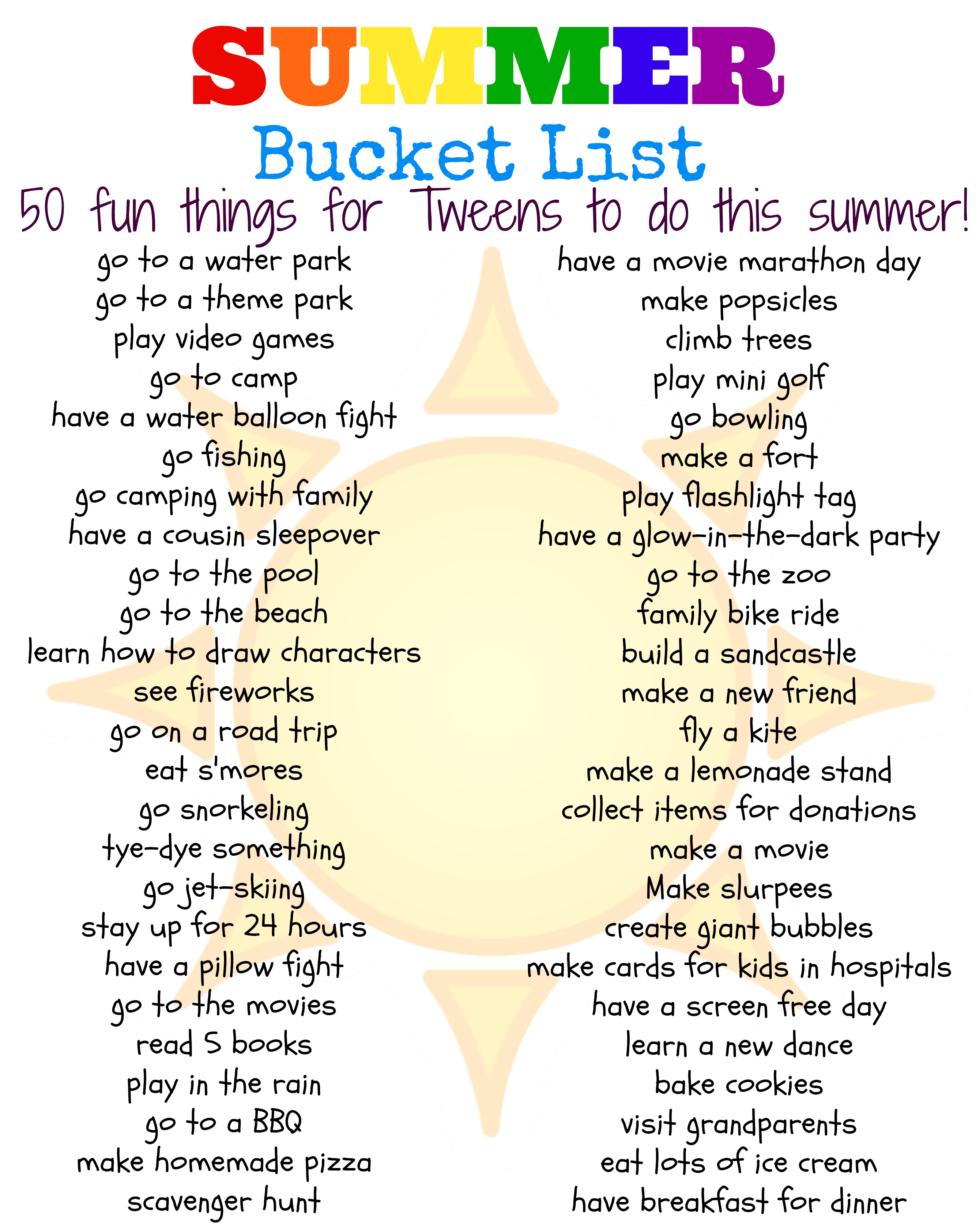 50 Fun Summer Things For Tweens To Do